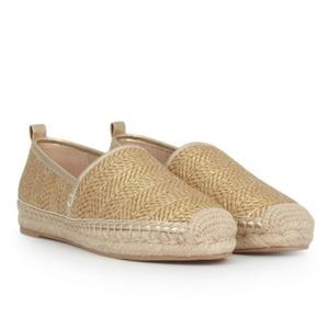 NWT Khloe Gold Metallic Raffia Slip-On Espadrilles
